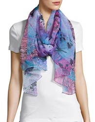 Collection 18 Butterfly Print Scarf Pink