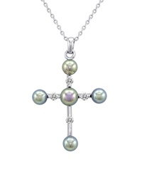 Majorica Pearl And Cz Cross Necklace