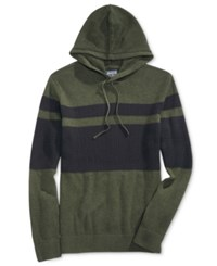 American Rag Men's Hooded Mesh Sweater Only At Macy's Dark Green Heather