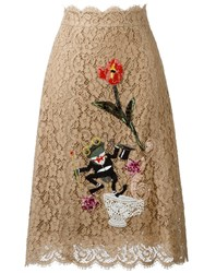 Dolce And Gabbana Embroidered Floral Lace Skirt Nude And Neutrals