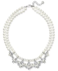 Charter Club Silver Tone Imitation Pearl Crystal Strand Necklace Only At Macy's