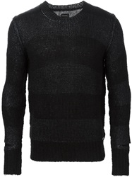 Diesel Cut Out Detail Striped Sweater Black