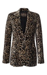 Roberto Cavalli Animal Printed Velvet Blazer Off White