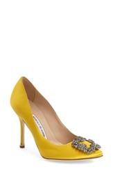 Women's Manolo Blahnik 'Hangisi' Jeweled Pump Yellow Satin