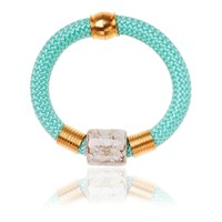 Iris Mint Statement Bangle With Ceramic Stone Blue