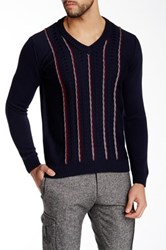 Ernest Hemingway V Neck Cable Knit Accent Sweater Blue