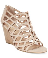 Adrienne Vittadini Arndre Caged Wedge Sandals Women's Shoes Soft Wheat Burnished