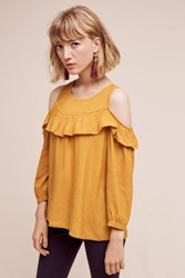 Maeve Brearly Open Shoulder Top Gold