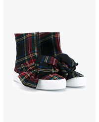 Joshua Sanders Bow Embellished Tartan Wool High Top Sneakers Multi Coloured Grey