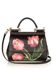 Dolce And Gabbana Sicily Tulip Small Leather Tote Black Pink