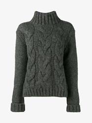 Ganni Brookes Alpaca Wool Blend Cable Knit Sweater Grey