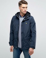 Lyle And Scott Hooded Parka Microfleece Lining In Navy Navy