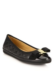 Salvatore Ferragamo Rufina Quilted Leather Bow Ballet Flats Nero Black