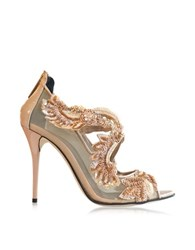 Oscar De La Renta Ambria Bisque Mesh And Patent Leather High Heel Sandal Nude
