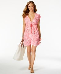 Dotti Hooded Halter Tie Cover Up Women's Swimsuit Coral
