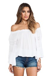 Surf Gypsy Crochet Sleeve Top White