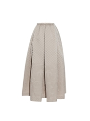 Rochas Pleated Quilted Maxi Skirt