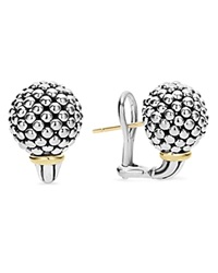 Lagos Sterling Silver Small Caviar Bead Stud Earrings With 18K Gold Silver Gold