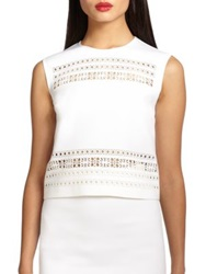 Clover Canyon Laser Cut Neoprene Crop Top White