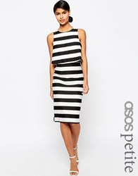 Asos Petite Structured Double Layer Pencil Dress In Stripe Multi