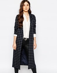 Pull And Bear Pullandbear Longline Check Duster Jacket Blue