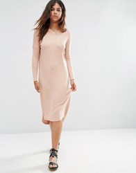 Asos Slouch Oversize T Shirt Dress In Baby Rib Nude Pink