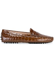 Tod's Crocodile Effect Loafers Brown