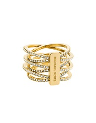 Michael Kors Crystal And Goldtone Criss Cross Ring