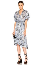 Zimmermann Havoc Wrap Flounce Dress In Blue Floral