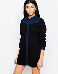 Vero Moda Western Denim Shirt Dress Medium Blue Denim