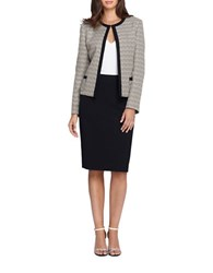 Tahari By Arthur S. Levine Two Piece Contrast Trimmed Jacket And Skirt Suit Set Sand White