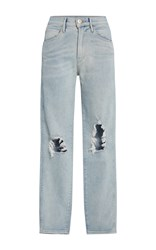 3X1 W3 Distressed High Rise Jeans Light Wash