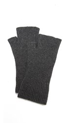 White Warren Cashmere Plush Arm Warmers Charcoal Heather