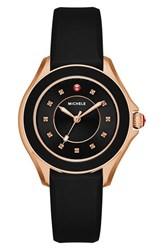 Michele Women's 'Cape' Topaz Dial Silicone Strap Watch 34Mm