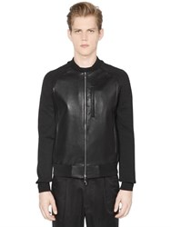 Emporio Armani Nappa Leather Jacket With Knit Sleeves