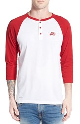 Men's Nike 'Sb Dri Fit' Three Quarter Raglan Henley Red Red