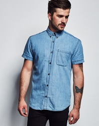 Only And Sons Tico Short Sleeve Shirt Blue