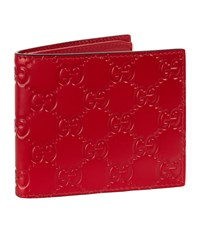 Gucci Logo Embossed Leather Wallet Unisex Red