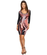 Just Cavalli Leo Hurricane 3 4 Sleeve Bodycon Jersey Dress Red Variant Women's Dress Orange