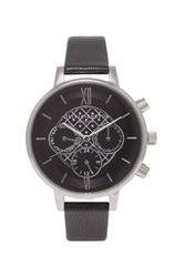 Topshop Olivia Burton Big Dial Chrono Detail Black And Silver Watch