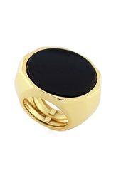 Vince Camuto Round Slab Ring Gold Black
