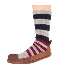 Acorn Maine Slipper Sock Red Ragg And Blue Wool Slippers Multi
