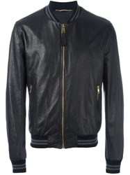 Dolce And Gabbana Leather Bomber Jacket Black