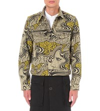 Dries Van Noten Venn Psychedelic Print Denim Jacket Sand