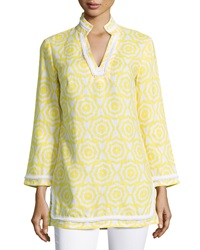 Sail To Sable Printed Contrast Trim Long Sleeve Tunic Yellow Bright White
