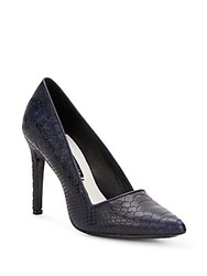 Alice Olivia Dina Croc Embossed Leather Pumps Navy