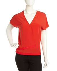 Cacharel Crepe Wrap Front Blouse Red