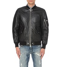 Diesel L Kit Leather Bomber Jacket Black