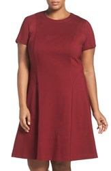 Adrianna Papell Plus Size Women's Short Sleeve Ponte Fit And Flare Dress