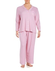 Karen Neuburger Plus Patterned 2 Piece Pajama Set Pink